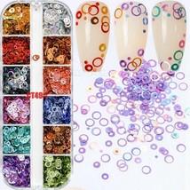 12 Box Nail Art Sequins Mix Tiny Flake Glitter Decals Circle Rainbow Col... - $3.19