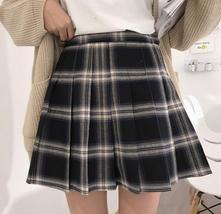 Women Girl YELLOW Pleated Plaid Skirt Plus Size School Style Pleated Plaid Skirt image 7