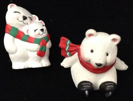 3 1994 Hallmark Merry Miniatures Tiny White Bears Scarves One Has Ice Skates - $12.81