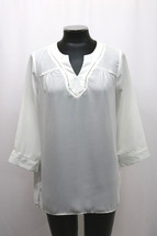 MAISON JULES BLOUSE THREE QUARTER SLEEVE OPEN SPLIT NECK WHITE SIZE XL M... - $29.98