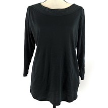 Ralph Lauren Womens Top Black Plus Size 1X 3/4 Sleeve Crochet Trim Rib K... - $14.84
