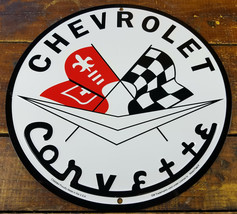 "Chevrolet Corvette Crossed Flags Chevy Logo 11 3/4"" Round Metal Advertising Sign - $26.96"