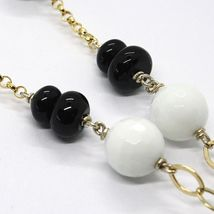 SILVER 925 NECKLACE, YELLOW, ONYX, AGATE WHITE, DOUBLE HEART, PENDANT image 5