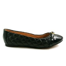 Lands End Womens 475383 Black Leather Quilted Ballet Flats Buckle Detail Size 8B - $29.69