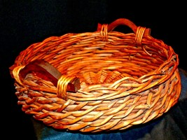 Handmade Woven Wicker Basket with Double Handles AA-191975 Vintage Collectible