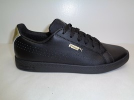 Puma Size 9.5 SMASH PERFORATED METALLIC Black Leather Sneakers New Women... - $119.58 CAD