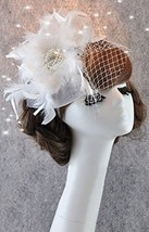 Hand Made Charming Pure White Feather Netting Bridal Veil With Hairpin