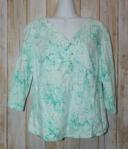 Womens Aqua Green Floral Print Columbia 3/4 Sleeve Shirt Size Medium ex... - $6.92