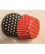 Halloween Cupcake Liners-4 Dozen-48 Standard Size Black & Orange Polka dots - $5.99