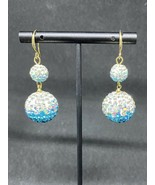 The Allium - Crystal Ball Drop French Wire Earrings, Blue - $18.99