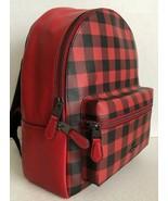 New Coach 38949 Medium Charlie Backpack Gingham print Coated Canvas Ruby multi - $134.35
