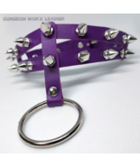 DWL Split-Band Studded Leather BDSM O-ring Collar in PURPLE - $16.99