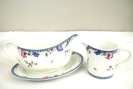 Oneida Fine Porcelain Select Collection Blue Lattice Gravy Boat Saucer & Creamer - $28.01