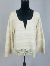Free People women SP bell long sleeve fringe pullover hippie boho - $34.65