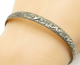 925 Sterling Silver - Vintage Antique Flower Patterned Bangle Bracelet -... - $42.50