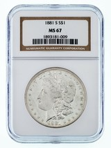 1881-S Silver Morgan Dollar Graded by NGC as MS-67! Gorgeous High Grade - $642.44