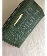 Steve Madden Wallet OLIVE GREEN Stamped Logo Silver Zipper nameplate Org... - $37.99