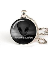 X files Vintage The truth is Out There sci fi UFO glass pendant necklace... - $9.73