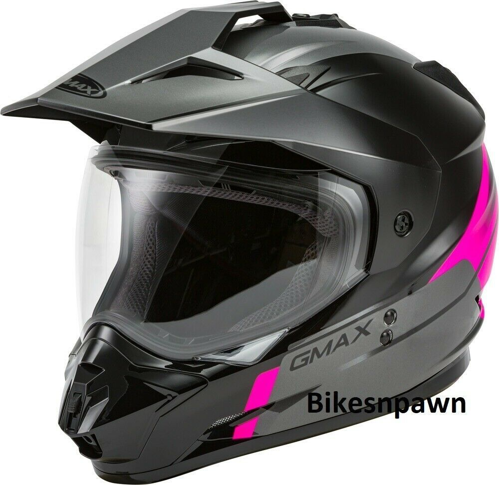 New L GMax GM-11 Scud Black/Pink/Gray Dual Sport Adventure Helmet DOT