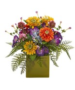 """14"""" Mixed Floral Artificial Arrangement In Green Vase Nearly Natural #1552 - $82.45 CAD"""