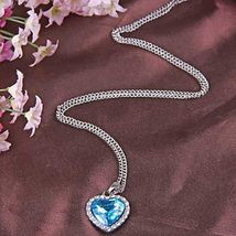 Women Pendant Necklace Blue Sapphire Heart Austria Crystal - 1x Chosen at Random image 3