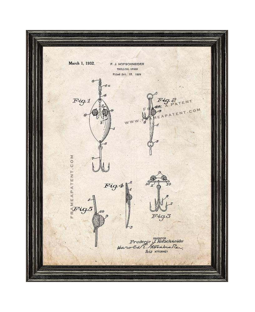 Primary image for Trolling Spoon Patent Print Old Look with Black Wood Frame