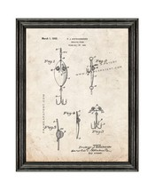 Trolling Spoon Patent Print Old Look with Black Wood Frame - $24.95+