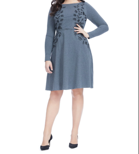 Eshakti Womens Dress 14 Gray Embroidered Fit And Flare Long Sleeves A69-06