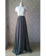 Grey Maxi Skirt with Split Wedding Chiffon Skirt One Side Split Gray Skirt - $58.99