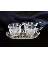 Cut Crystal Rose Pattern Sugar Bowl & Creamer Set with Tray - $32.00