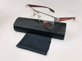 New PRADA SPORT VPS 57E QE7-1O1 Grey & Matte Burgundy Eyeglasses 53mm w/... - $148.50