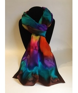 Hand Painted Silk Scarf Pink Turquoise Purple Orange Yellow Green Oblong... - $46.00