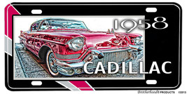 1958 Pink Cadillac Aluminum License plate - $13.81