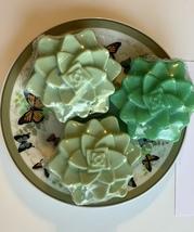 3 PC SET Green Succulent Handmade Soap,Lush Emerald Scent,Goat's Milk,UCHOOSE - £9.44 GBP