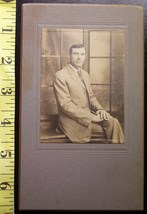Cabinet Card Handsome Man Seated Side View! c.1890`s - $4.80