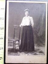 Cabinet Card  Nice Lady w/Big Hair & Chair! c.1880-90 - $5.60