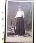 Cabinet Card  Nice Lady w/Big Hair & Chair! c.1880-90 - $5.00