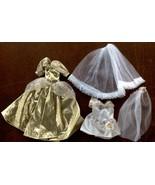 Barbie Palitoy Shillman Cinderella Style Gold Metallic Gown Set 2 Outfit... - $23.65