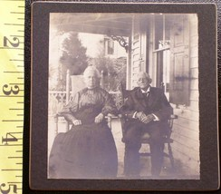 Cabinet Card Old Lady & Husband on Front Porch! c.1890`s   - $3.20