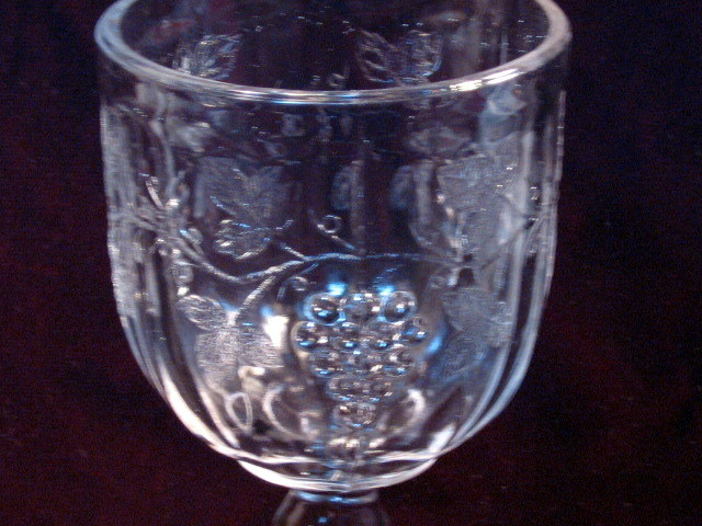 Antique EAPG Pattern Glass Jenkins Late Paneled Grape Water Goblet Pressed Glass
