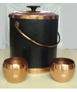 Vintage Ice Bucket Coppercraft Leather w Copper Ice Pail & Cups Serving Set - $35.99