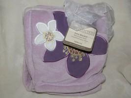 Lambs & Ivy Purple Lavender White Plush Fleece Baby Girl Blanket Flower Floral - $58.90