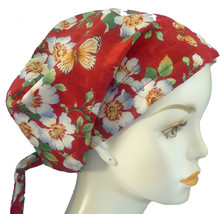 Apple Blossoms & Butterflies Cancer Chemo Cap Hair Loss Scarf Turban Head Hat - $16.95