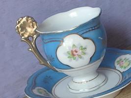 Vintage Japan blue and white gold flower handle demi demitasse tea cup teacup - $48.51