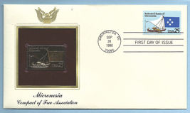 First Day Cover 1990 Gold Replica 25c Postage Micronesia Free Association - $9.99