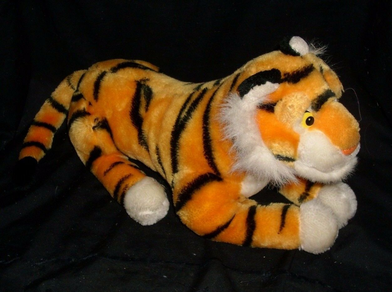 "18"" VINTAGE DISNEY ALADDIN RAJAH ORANGE BLACK TIGER STUFFED ANIMAL PLUSH TOY BIG"