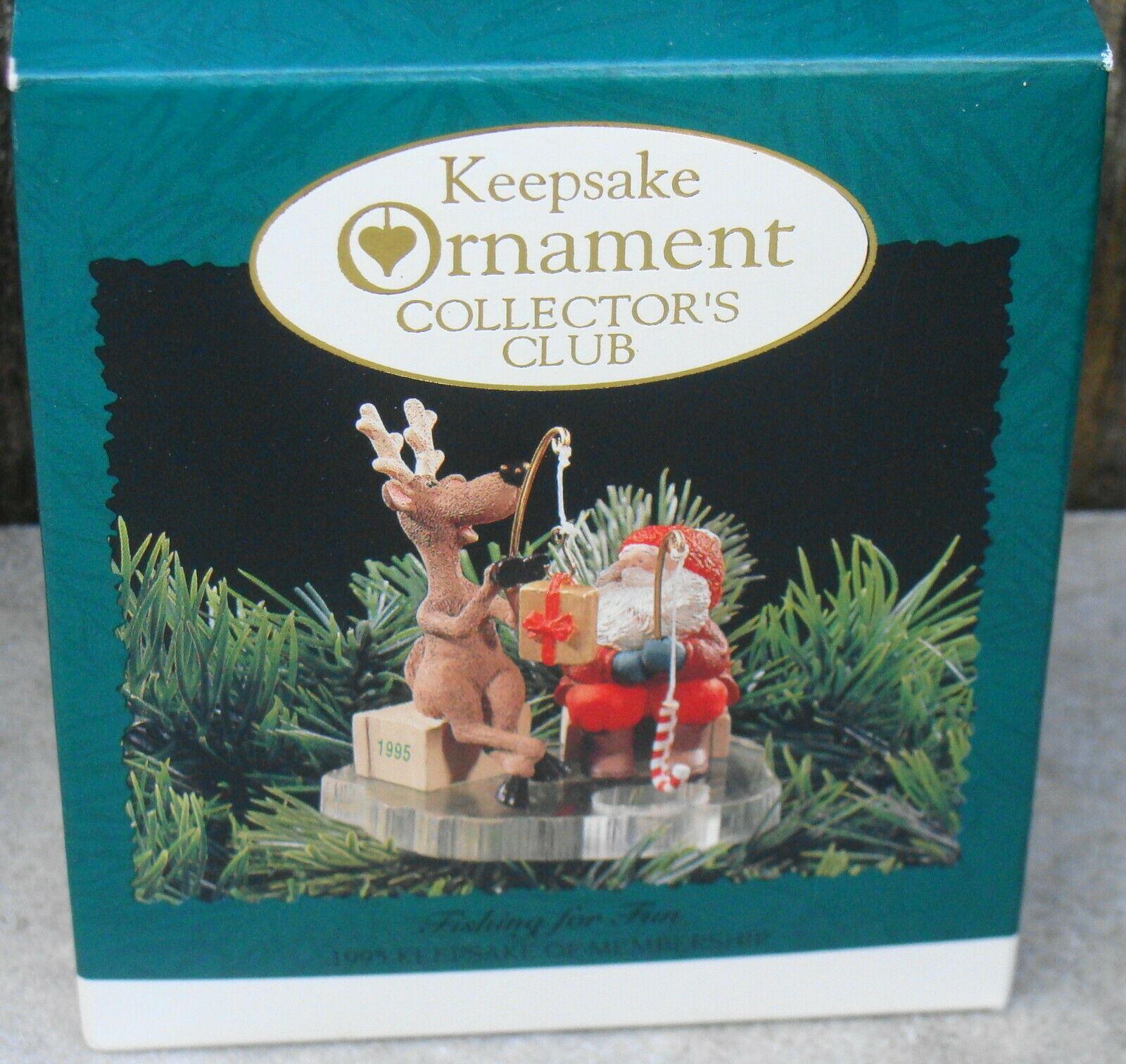 Hallmark Keepsake Collectors Club Fishing For Fun Christmas Ornament Santa 1995