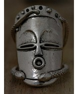 Voodoo Hoodoo Face Mask Ring Antique Silver Knuckle Art Snake Magic SIZE 6.5 - €13,77 EUR