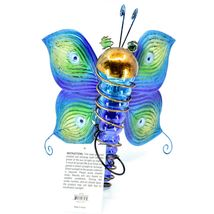 Painted Metal & Glass Solar Powered Light Garden Decoration Butterfly Decor image 6