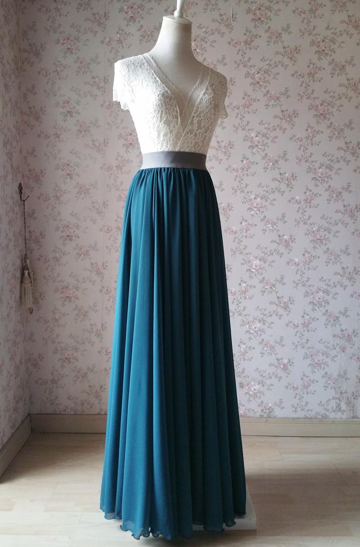Women maxi chiffon skirt bluegreen 2